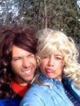 Here we are backcountry skiing with wigs!